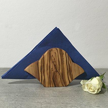 Napkin Holder Olive Wood, rustic, wavy shape, handmade