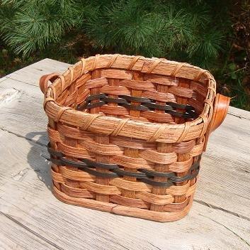 Basket - Napkin - Leather Loop Handlces. Approximately Measures 6.5