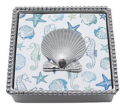 Mariposa Scallop Shell Beaded Napkin Box