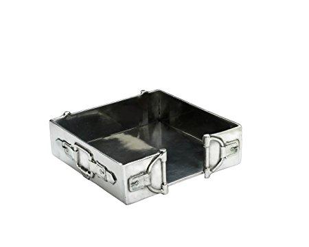 Arthur Court Designs Aluminum Equestrian Horse Bit Cocktail Napkin Box